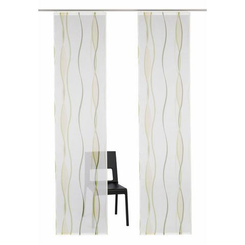 Paneelgordijn, MY HOME, »Dimona«, groen, met klittenbandrail (set van 2 met accessoires)