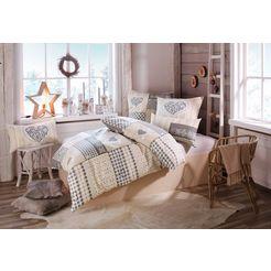 home affaire collection overtrekset janina in patchwork-ontwerp (2-delig) beige