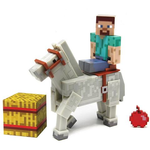 Minecraft figuur Steve met paard wit