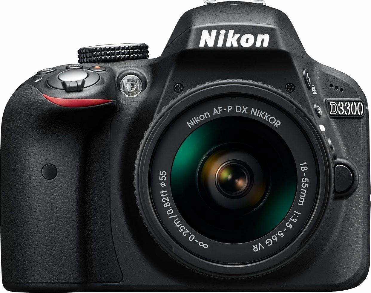 Nikon D3300 Kit spiegelreflexcamera, AF-P DX NIKKOR 18-55 mm 1:3,5-5,6 G VR zoom, incl. tas - verschillende betaalmethodes