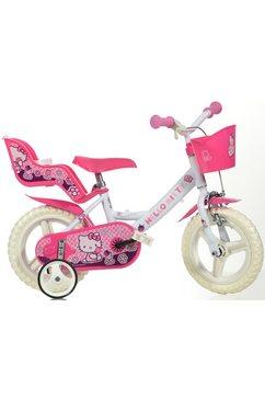 kinderfiets, 12 inch, met stuurmand + poppenzitje, »hello kitty« roze