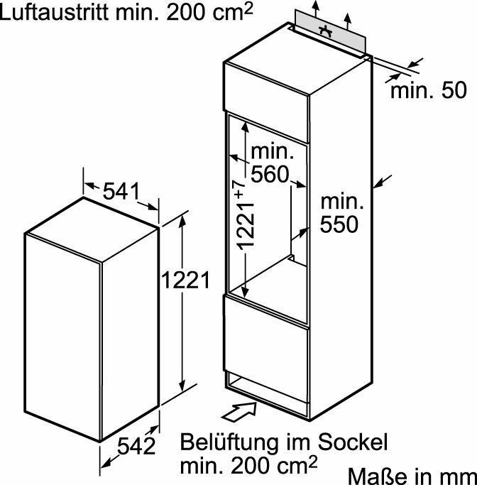 constructa integreerbare inbouwkoelkast ck60430 a 122 5 cm hoog online verkrijgbaar otto. Black Bedroom Furniture Sets. Home Design Ideas
