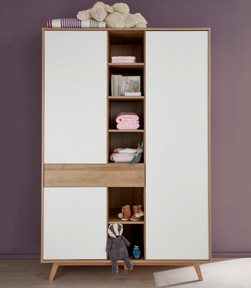 Garderobekast passend bij meubelserie Berlin, imitatie-eiken/wit