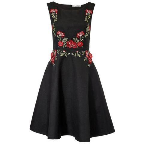 jurk met borduursel zwart