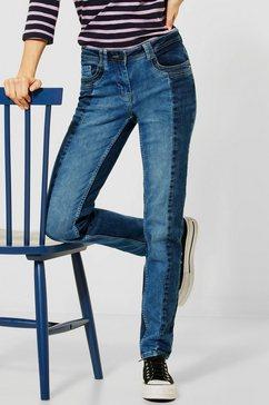 cecil slim fit jeans stijl charlize met contrastinzetten blauw