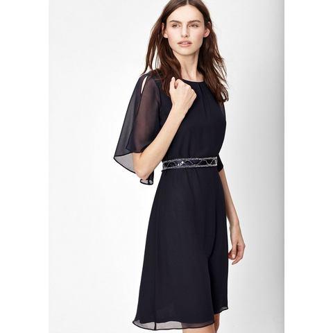 Picture s.Oliver BLACK LABEL Chiffon jurk met een satijnen striklint blauw 068849