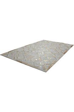 kayoom leren vloerkleed spark 410 patchwork echt leer bont, woonkamer goud
