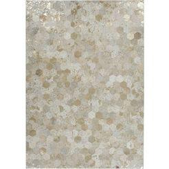 kayoom leren vloerkleed spark 210 patchwork echt leer bont, woonkamer goud