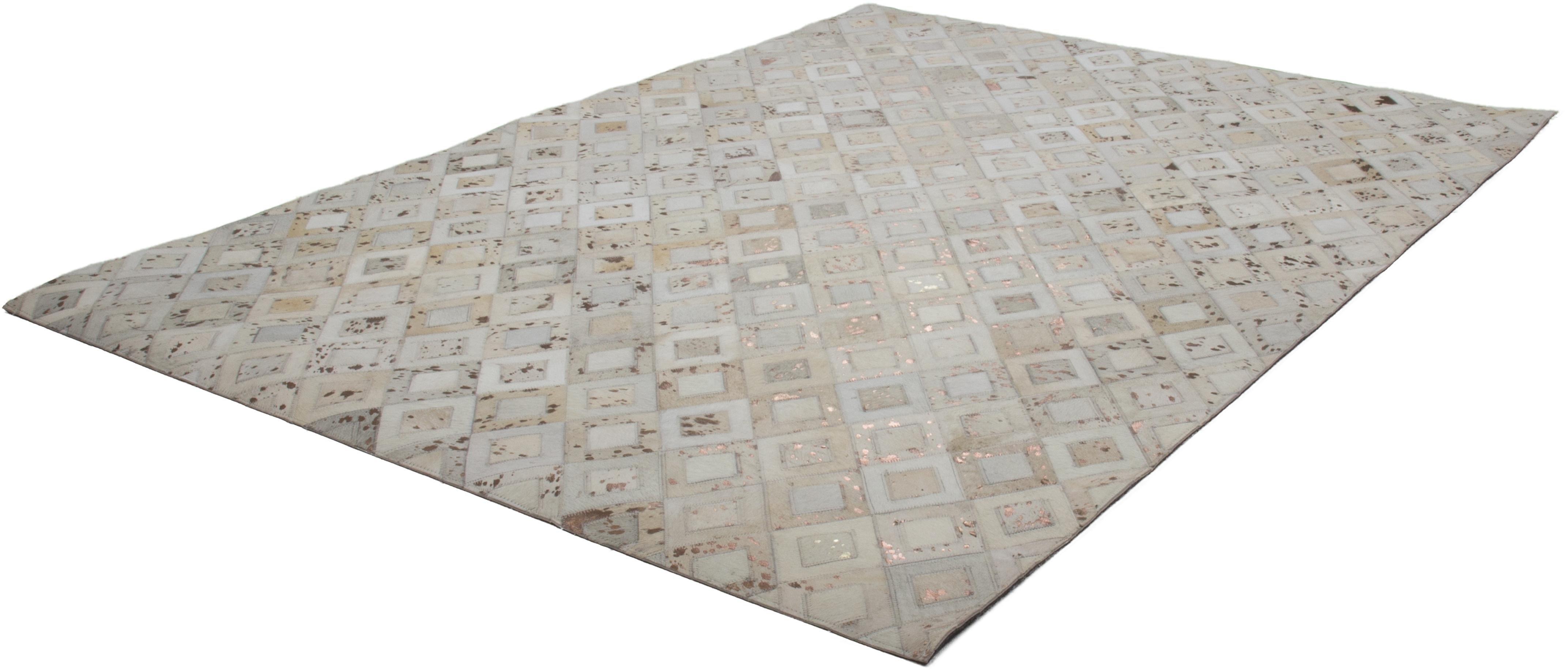Kayoom leren vloerkleed Spark 110 Patchwork echt leer bont, woonkamer voordelig en veilig online kopen