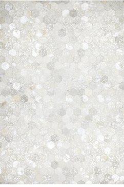 kayoom leren vloerkleed spark 210 patchwork echt leer bont, woonkamer zilver