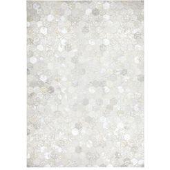 vloerkleed, kayoom, »spark 210«, patchwork-leer, met de hand geweven zilver
