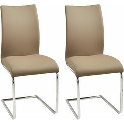 vrijdragende stoel in set van 2 bruin