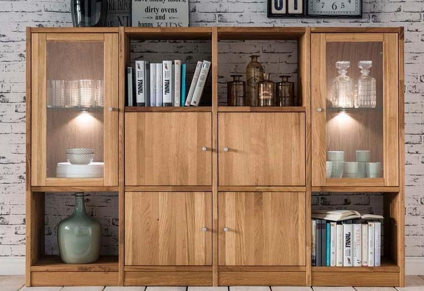 Premium collection by Home affaire rek Ecko van massief wildeiken, breedte 181 cm, incl. verlichting in de webshop van OTTO kopen