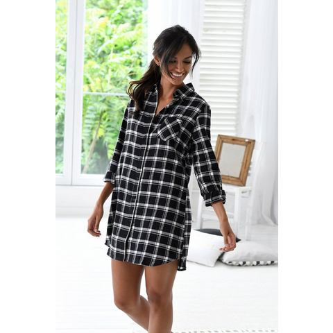 H.I.S klassiek nachthemd met ruitdessin in zwart/wit