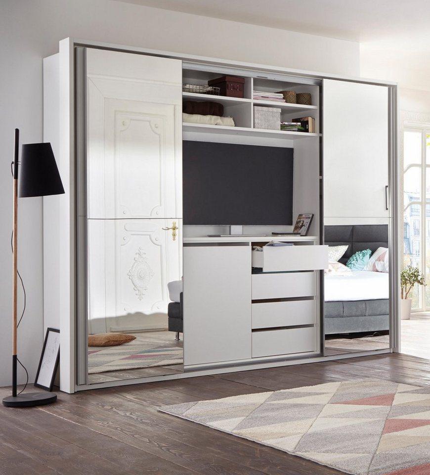 Zweefdeurkast met TV-vak en spiegel