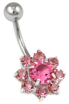 firetti navelpiercing bloem met kristallen paars