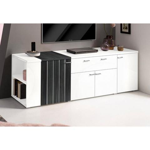 Lowboard breedte 185 cm wit zwart-notenkernkleur TV-kast 166