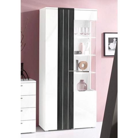 kast hoogte 1957 cm wit zwart-notenkernkleur vitrinekast 276