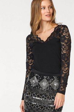 laura scott shirt met lange mouwen en kant zwart