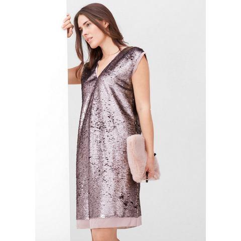 NU 15 KORTING TRIANGLE Glanzende jurk met pailletjes, Jurk Glamoureuze jurk met subtiel, metallic glanzende pailletjes all-over. De ingezette biezen van crêpe zorgen met de open, afgewerkte randen voor een prachtig contrast. V-hals aan de voor- en achterkant; aan de achterkant een decoratief bandje. Mouwloos model. Rechte, subtiel rond het lichaam vallende pasvorm; lengte achterpand bij mt. 42 ca. 98 cm. Aangenaam stevig polyester; geheel gevoerd. Met deze jurk maakt u bij alle feestelijke gelegenheden een geraffineerd subtiele indruk!.Bovenmateriaal en voering: 100% polyesterExtra gegevens:Merk : TriangleKleur : rozeVerzendkosten : 5.95Maat/Maten : 38;40;42;44;46;48;50;52Levertijd : Levertijd: ca. 1 weekAanbiedingoude prijs: € 139.99