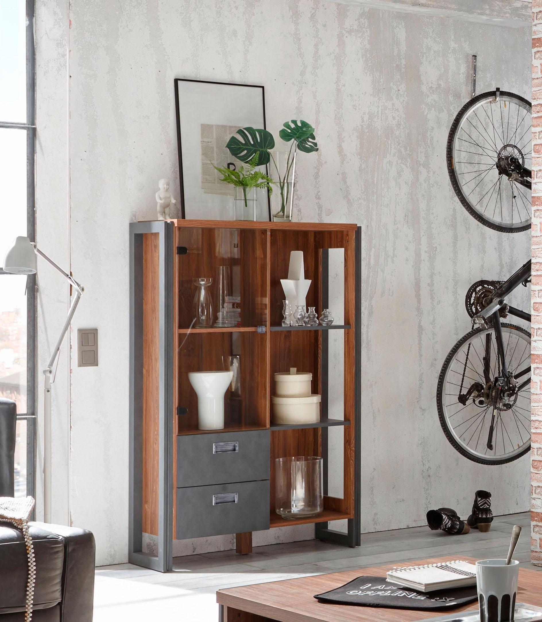 Home Affaire highboard »Detroit«, met 2 laden, hoogte 140 cm, in trendy industrial-look nu online kopen bij OTTO