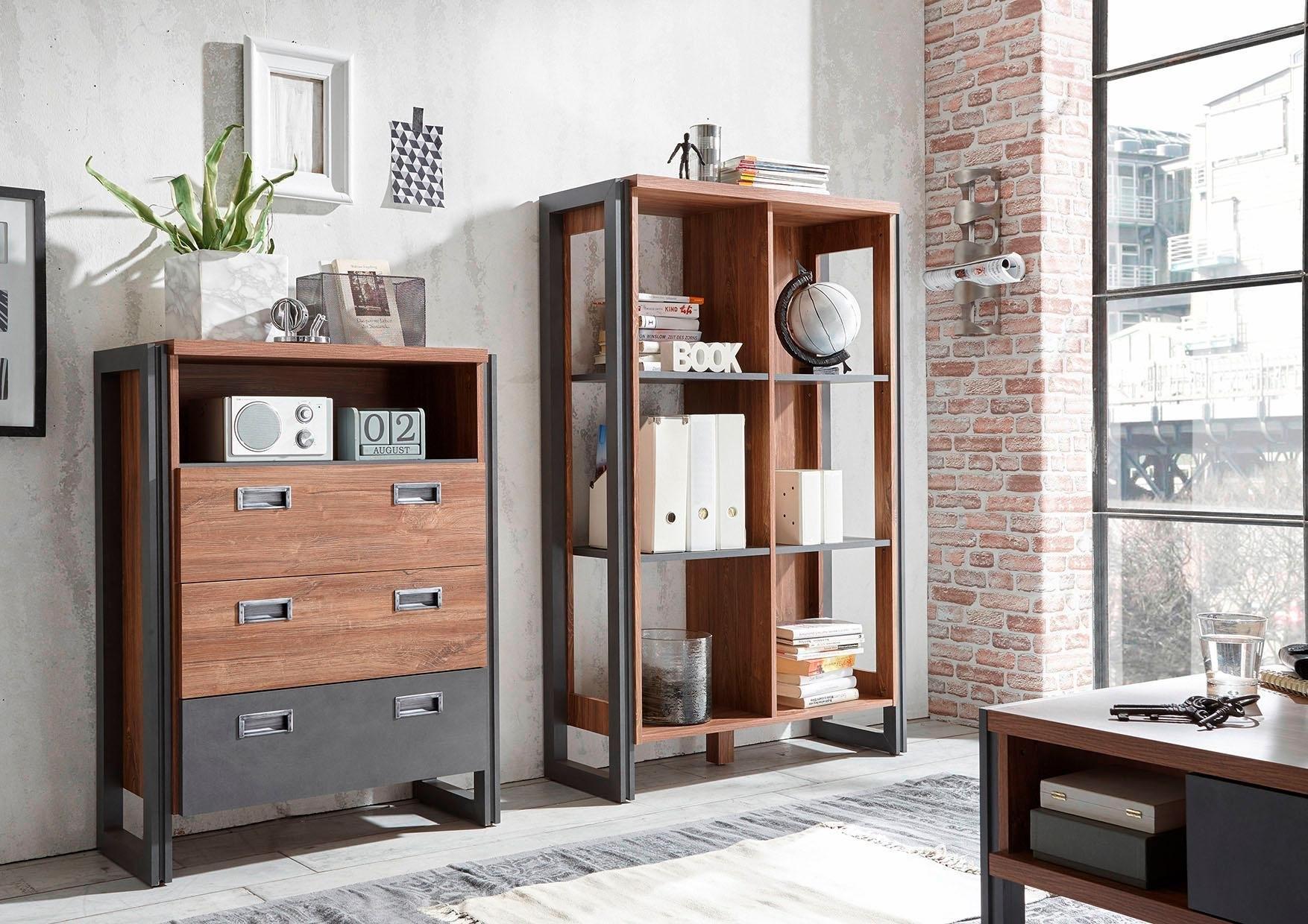 Open Kast Detroit Hoogte 140 Cm In Trendy Industrial Look
