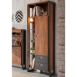 home affaire open kast »detroit«, hoogte 202 cm, in een trendy industrial-look bruin