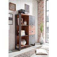 home affaire highboard »detroit«, met 2 deuren en 2 laden, hoogte 140 cm, industrile look bruin
