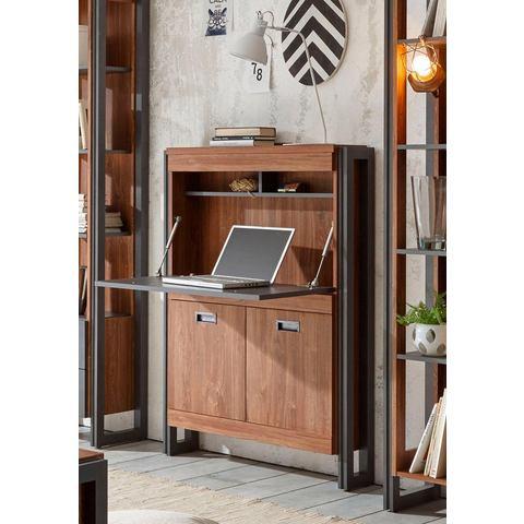 HOME AFFAIRE secretaire Detroit hoogte 140 cm in een trendy industrial-look bruin leisteenkleurig 44