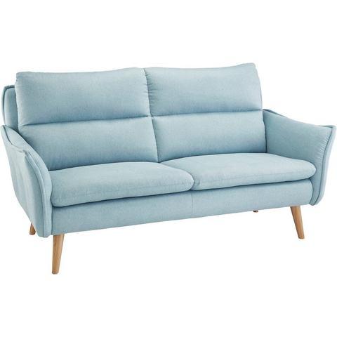 woonkamer driepersoons bankstel blauw grove structuurstof HOME AFFAIRE met stiksels achter en 2 sierkussens van dezelfde stof als de bekleding