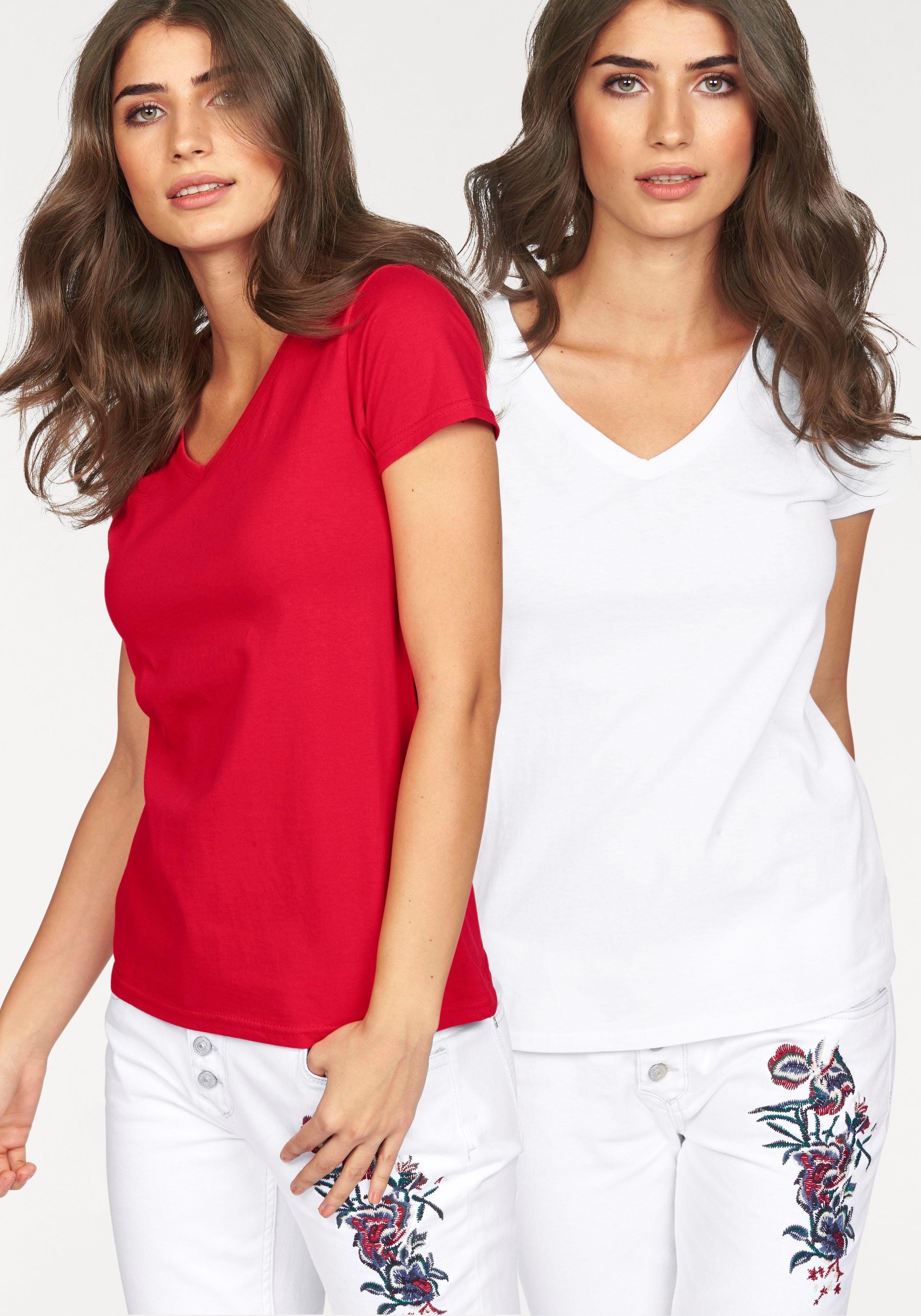 Fruit Of The Loom shirt »Lady-Fit Valueweight V-hals« (set van 2) nu online kopen bij OTTO
