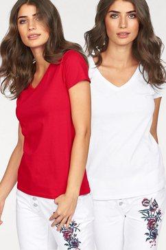 fruit of the loom shirt met v-hals lady-fit valueweight v-hals (set, 2-delig, set van 2) rood