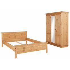 home affaire slaapkamerserie (2-dlg.) »indra« met decoratief freeswerk beige