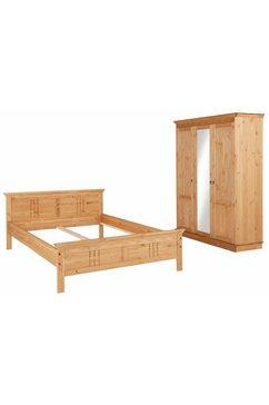 home affaire slaapkamerserie indra bestaand uit 140 cm breed bed en 3-deurs kast (set, 2 stuks) beige