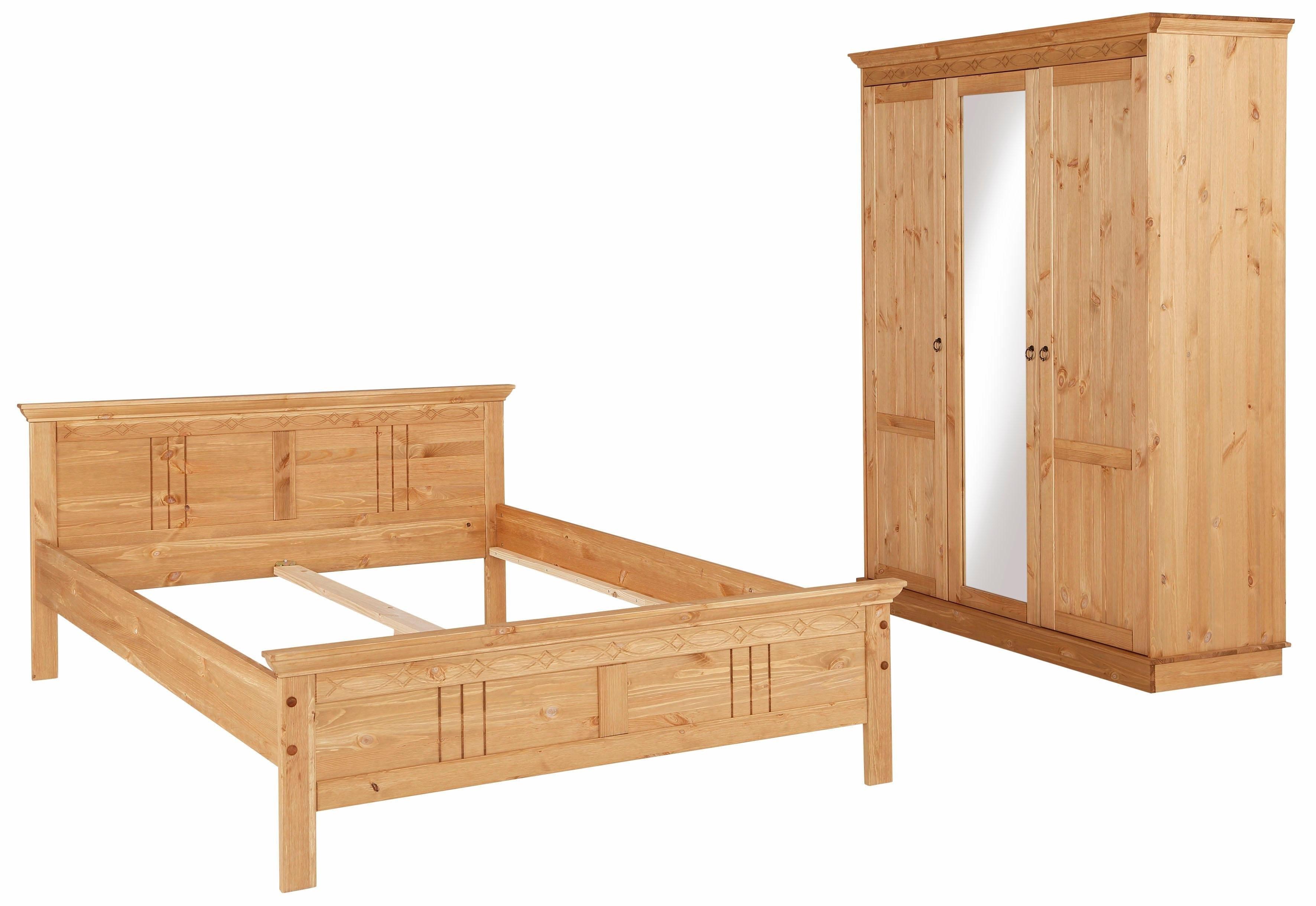 Home affaire slaapkamerserie Indra bestaand uit 140 cm breed bed en 3-deurs kast (set, 2 stuks) bij OTTO online kopen