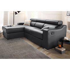 atlantic home collection hoekbank, met relaxfunctie en binnenvering zwart