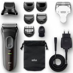 braun elektr. scheerapparaat series 3 3000bt, shavestyle 3-in-1 met precisietrimmer  5 opzetkammen zwart