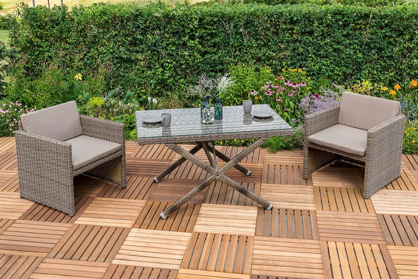 MERXX Tuinmeubelset Avola, 7-dlg., 2 stoelen, tafel 130x80 cm, poly-rotan, naturel