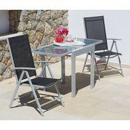 merxx tuinmeubelset »lima«, 3-dlg., 2 klapstoelen, tafel 65x130 cm (uitrekbaar) zwart