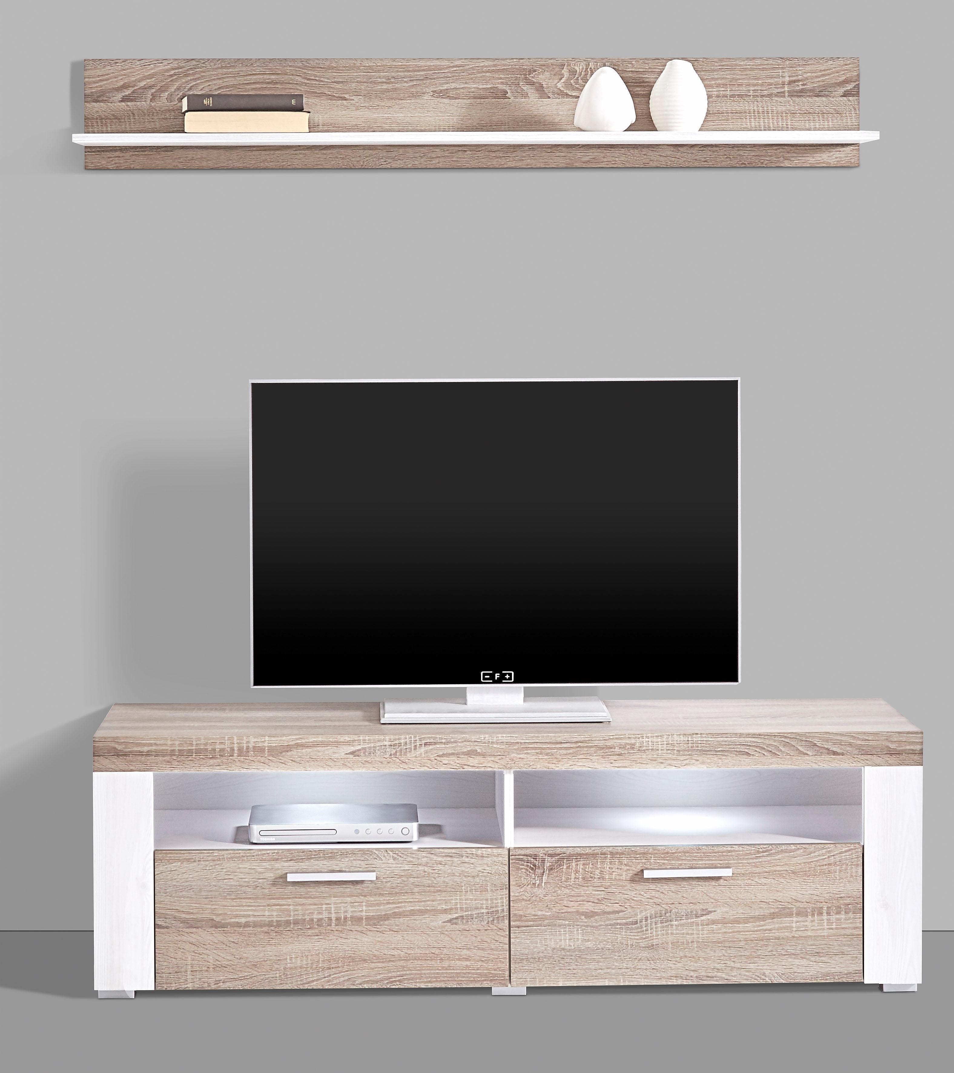 lowboard breedte 140 cm met wandplank online shop otto. Black Bedroom Furniture Sets. Home Design Ideas