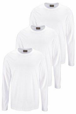 man's world shirt met lange mouwen van puur katoen (set, 3-delig, set van 3) wit