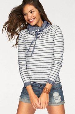 ajc sweatshirt met unikleurige mouwboorden wit