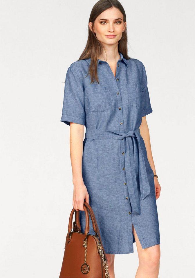 Laura Scott jurk met overhemdkraag blauw