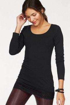 ajc lang shirt met mooie kant bij de zoom zwart