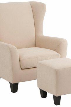 home affaire fauteuil chilly met prettig binnenveringsinterieur, in drie verschillende stofkwaliteiten te bestellen, zithoogte 44 cm (set, 2 stuks) beige