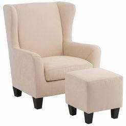home affaire fauteuil »chilly« (set, 2-tlg., bestehend aus sessel und hocker) beige