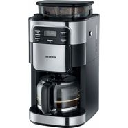 severin koffiezetapparaat ka 4810, met glazen kan, eborsteld edelstaal-zwart zilver