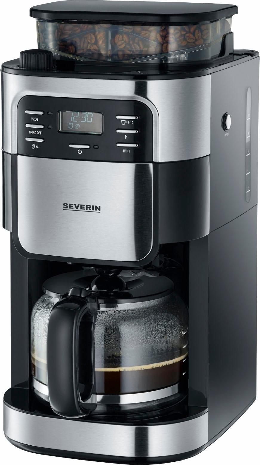 Severin Koffiezetapparaat KA 4810, met glazen kan, eborsteld edelstaal/zwart goedkoop op otto.nl kopen