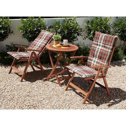Tuinmeubelset Borkum, 5-dlg., 2 klapstoelen, tafel Ø 65 cm, eucalyptus, bruin