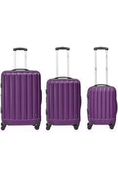 packenger harde trolleyset met 4 wieltjes, »velvet« (3-dlg.) paars